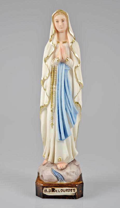 Statue notre dame de lourdes polychrom e 15cm la for Statue vierge marie pour exterieur