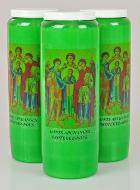 3 Bougies de Neuvaine Verte - Saints Archanges