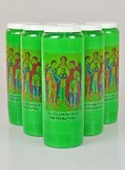 6 Bougies de Neuvaine Verte - Saints Archanges