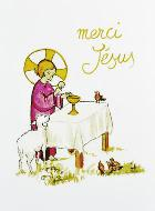 Carte de Communion - Merci Jésus - Rose
